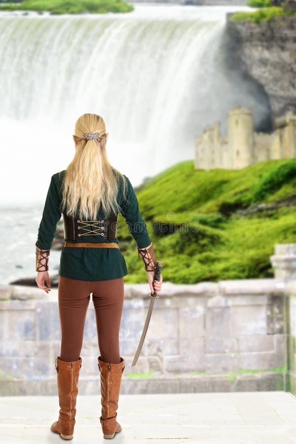 Vrouwelijk elf die met zwaard waterval bekijken stock afbeelding