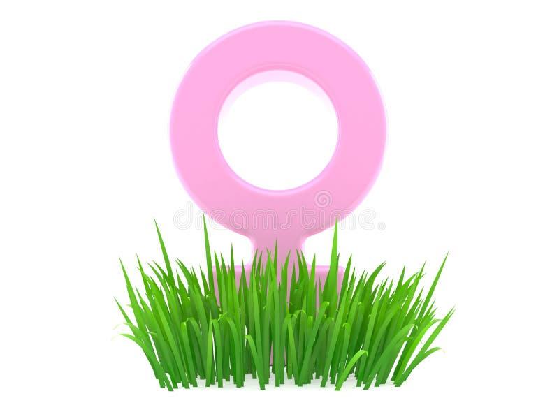Vrouwelijk gendersymbool op gras royalty-vrije illustratie