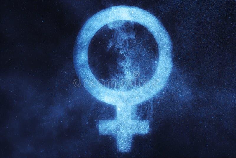 Vrouwelijk geslachtssymbool De abstracte achtergrond van de nachthemel royalty-vrije stock fotografie
