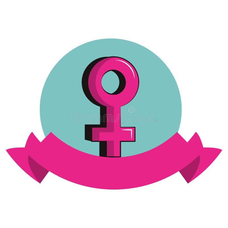 Vrouwelijk geslachtssymbool om pictogram stock illustratie