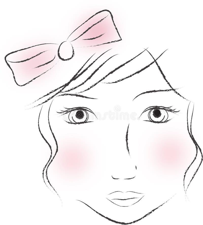 Vrouwelijk gezicht stock illustratie
