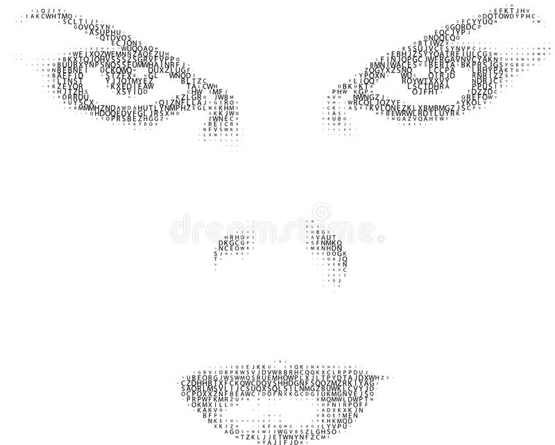 Vrouwelijk gezicht van tekst stock illustratie
