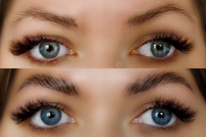 Vrouwelijk gezicht before and after wenkbrauwencorrectie Mooie Vrouw met lange zwepen in een schoonheidssalon stock fotografie