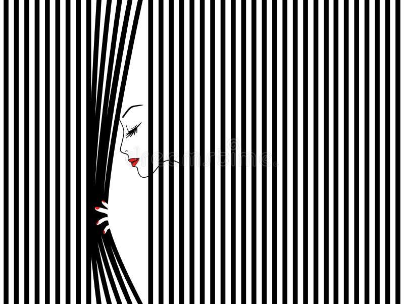 Vrouwelijk gezichtssilhouet, schoonheidsvrouw, maniermeisje vector illustratie