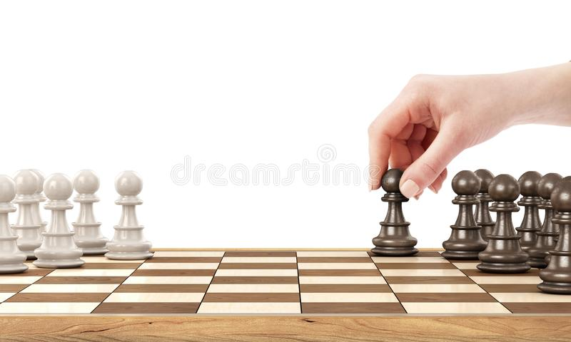 Vrouwelijk hand het spelen schaak royalty-vrije stock afbeelding
