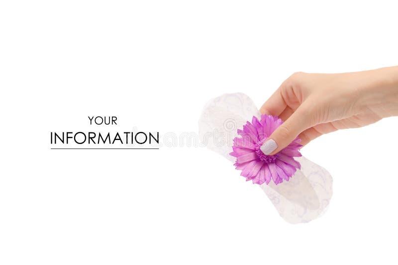 Vrouwelijk handmaandverband een bloempatroon stock foto