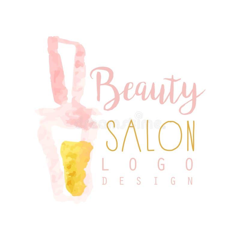 Vrouwelijk het embleemontwerp van de schoonheidssalon Etiket met gouden en roze zachte kleuren Van de schoonheidsmiddelenwinkel o stock illustratie