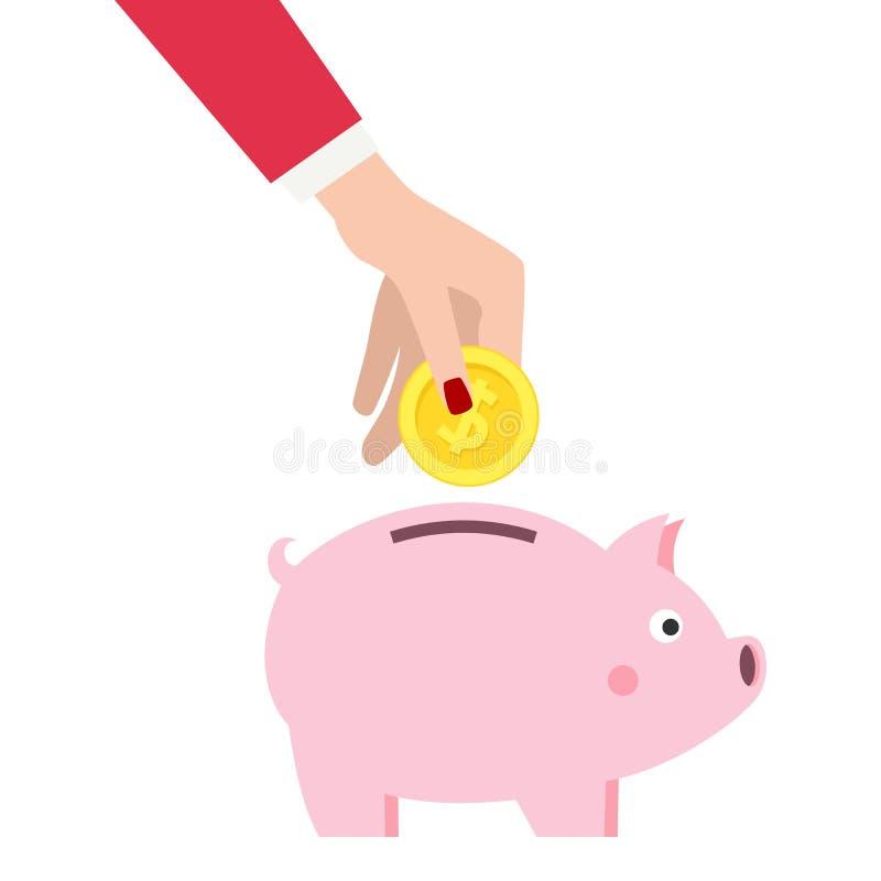Vrouwelijk het Geld Vlak Pictogram van de Handbesparing vector illustratie