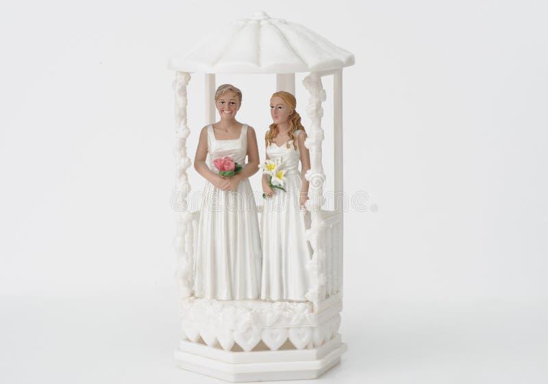 Vrouwelijk huwelijkspaar topper royalty-vrije stock afbeelding