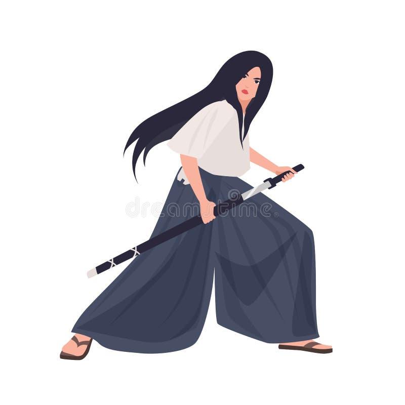 Vrouwelijk Japans strijder of samoeraienmeisje Jonge vrouw in kimono die zich in het bestrijden van houding en het houden van kat royalty-vrije illustratie