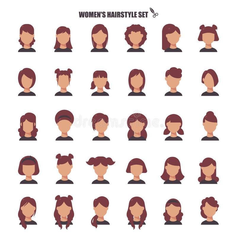 Vrouwelijk kapselbeeldverhaal, monochrom pictogrammen in vastgestelde inzameling voor ontwerp De voorraadweb van het modieus kaps vector illustratie
