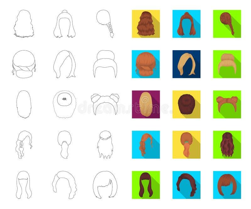 Vrouwelijk kapseloverzicht, vlakke pictogrammen in vastgestelde inzameling voor ontwerp Illustratie van het de voorraadweb van he vector illustratie