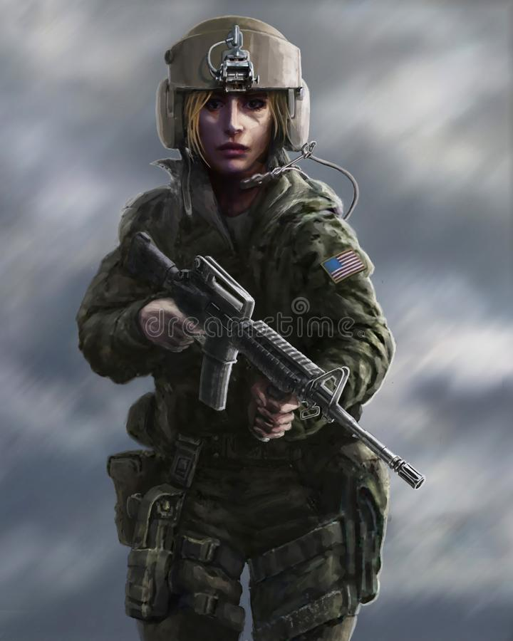 Vrouwelijk karakter in militaire eenvormig en helm proef met wapen Tekeningsillustratie vector illustratie