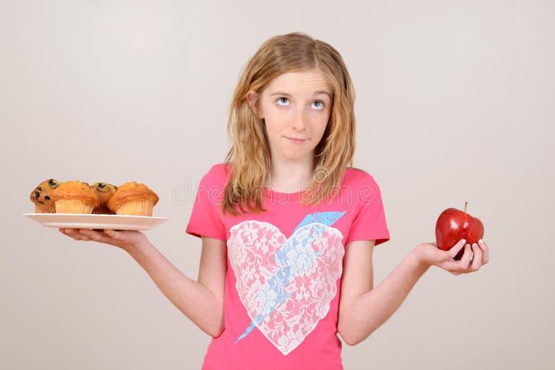 Vrouwelijk kind gezond het eten concept stock fotografie