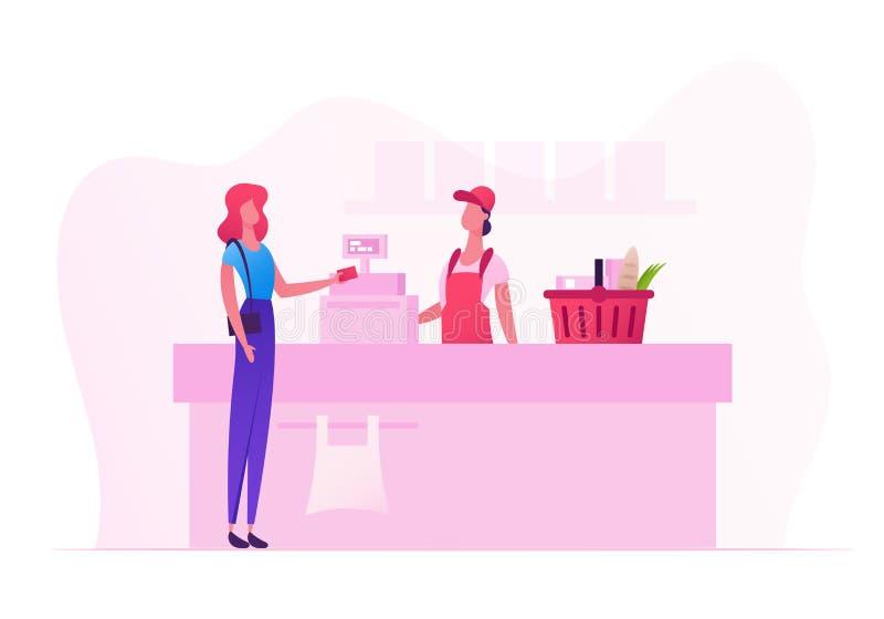 Vrouwelijk Klantenkarakter met Goederen in het Winkelen Mandtribune in Supermarkt of Kruidenierswinkelrij bij Kassier Desk met Ve vector illustratie