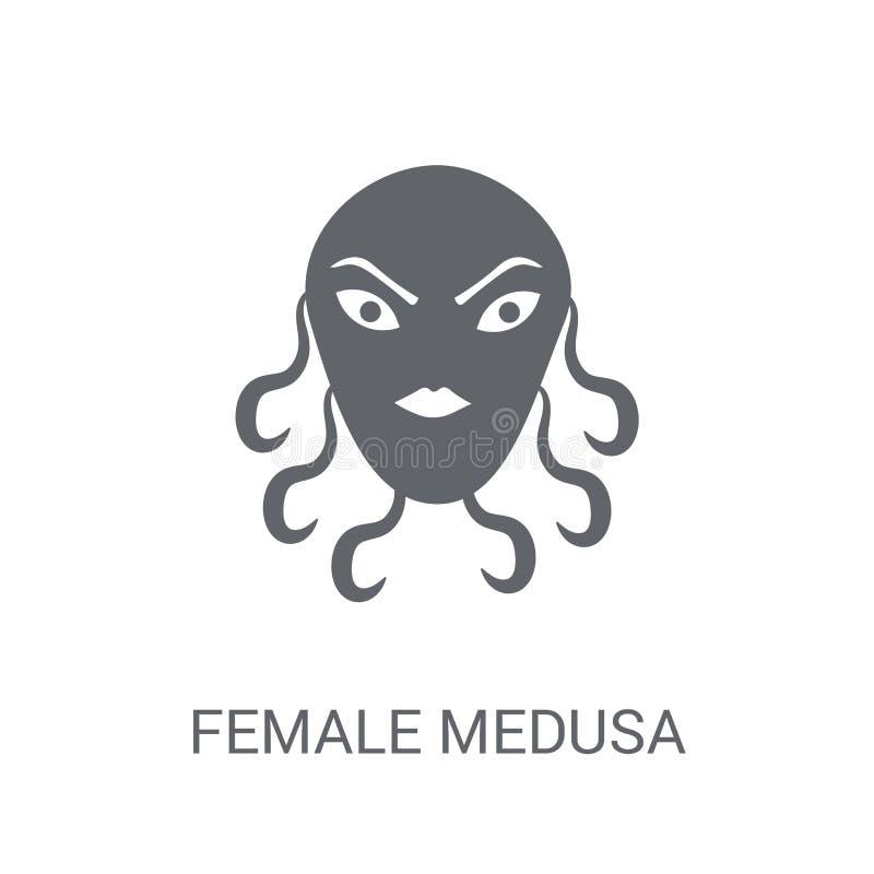 vrouwelijk Kwalpictogram Het in vrouwelijke concept van het Kwalembleem op witte B royalty-vrije illustratie