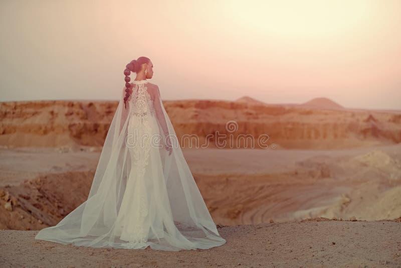 Vrouwelijk manierconcept Vrouw in huwelijkskleding en sluier stock foto