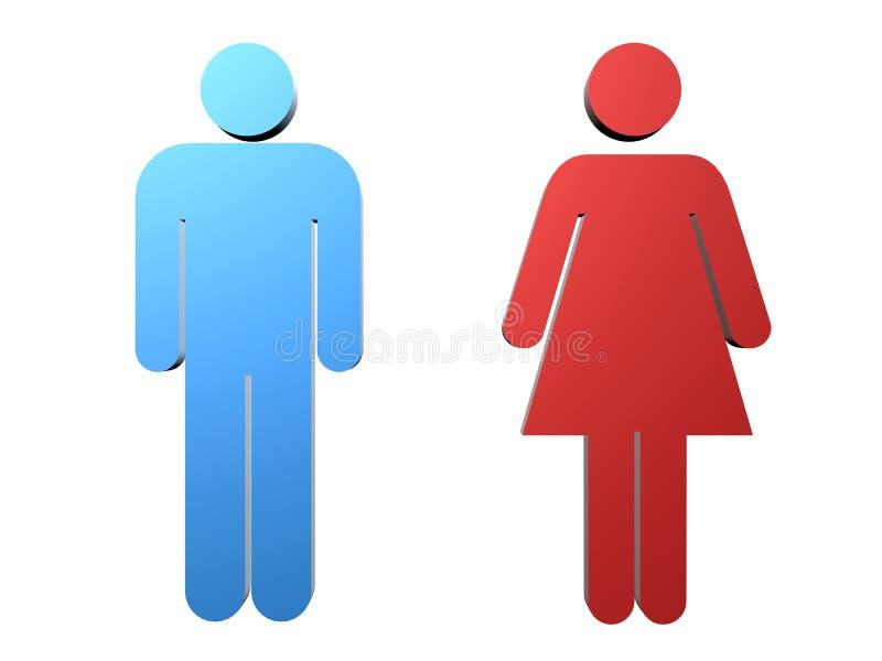 Vrouwelijk/mannelijk teken stock illustratie