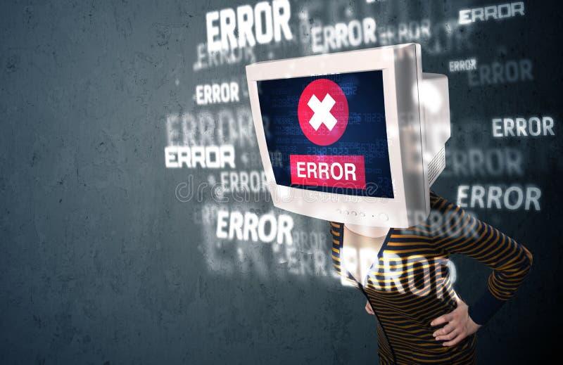 Vrouwelijk monitorhoofd met foutentekens op het vertoningsscherm stock afbeeldingen