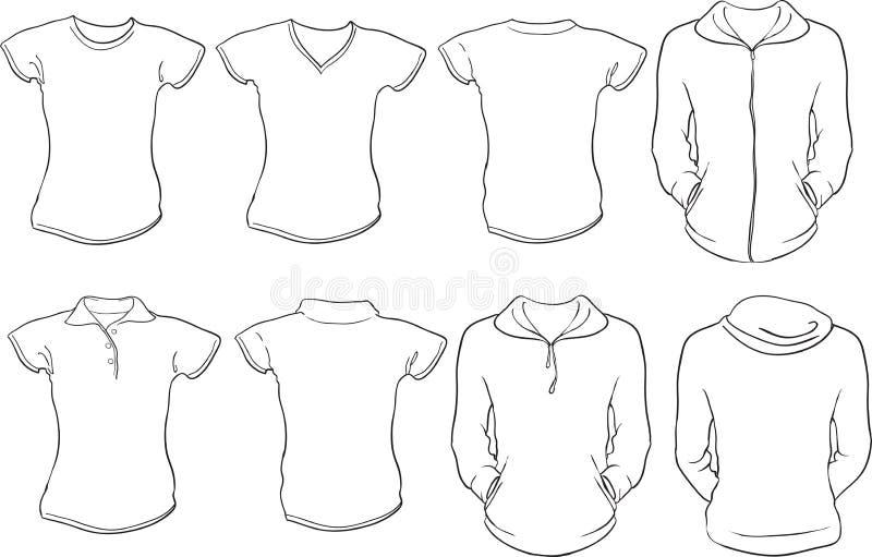 Vrouwelijk overhemdenmalplaatje vector illustratie