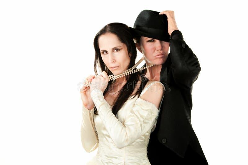 Vrouwelijk Paar als Bruid en Bruidegom royalty-vrije stock fotografie