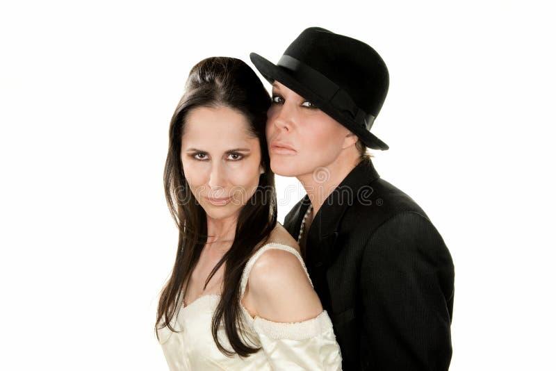 Vrouwelijk Paar als Bruid en Bruidegom stock fotografie