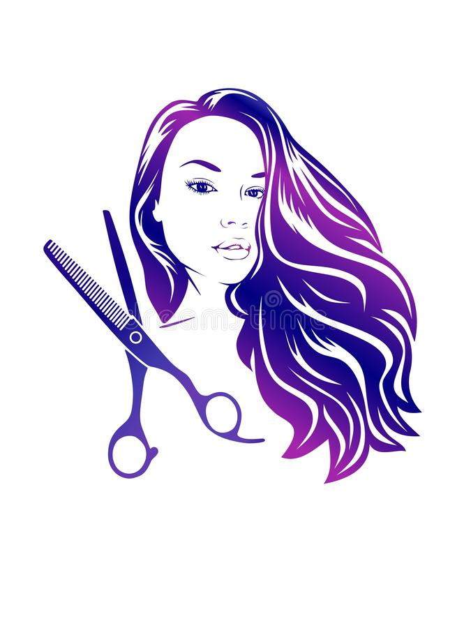 Vrouwelijk pictogram Schaarsilhouet Het kappenconcept vector illustratie