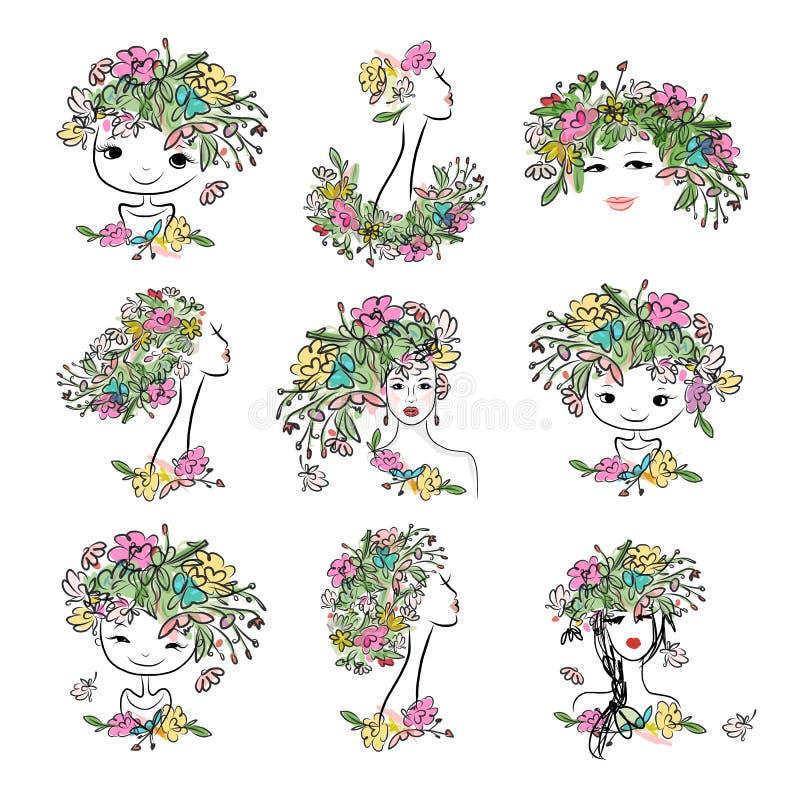 Vrouwelijk portret met bloemenkapsel, inzameling voor uw ontwerp royalty-vrije illustratie