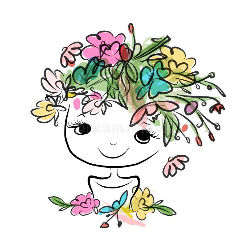 Vrouwelijk portret met bloemenkapsel voor uw royalty-vrije illustratie