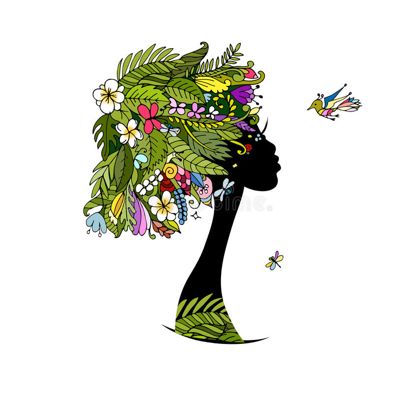 Vrouwelijk portret met tropisch kapsel voor uw ontwerp vector illustratie