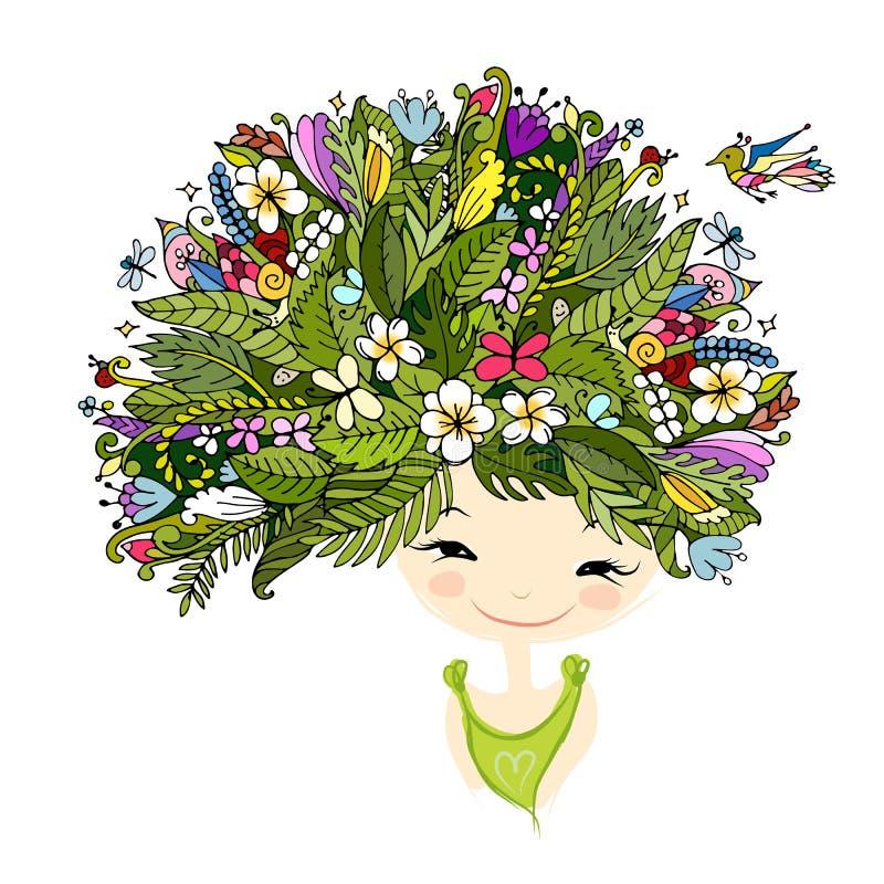 Vrouwelijk portret met tropisch kapsel voor uw ontwerp royalty-vrije illustratie