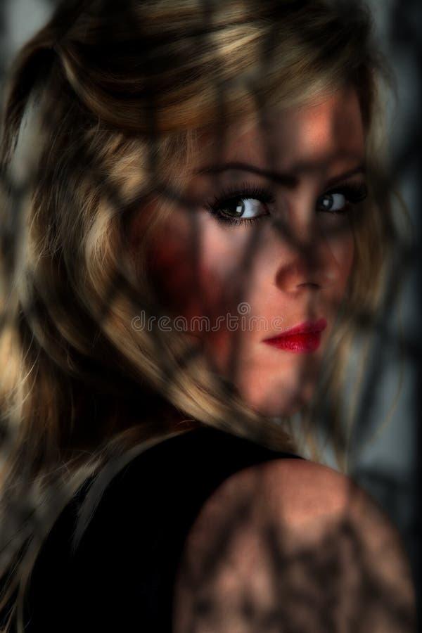 Vrouwelijk portret in schaduwen stock fotografie