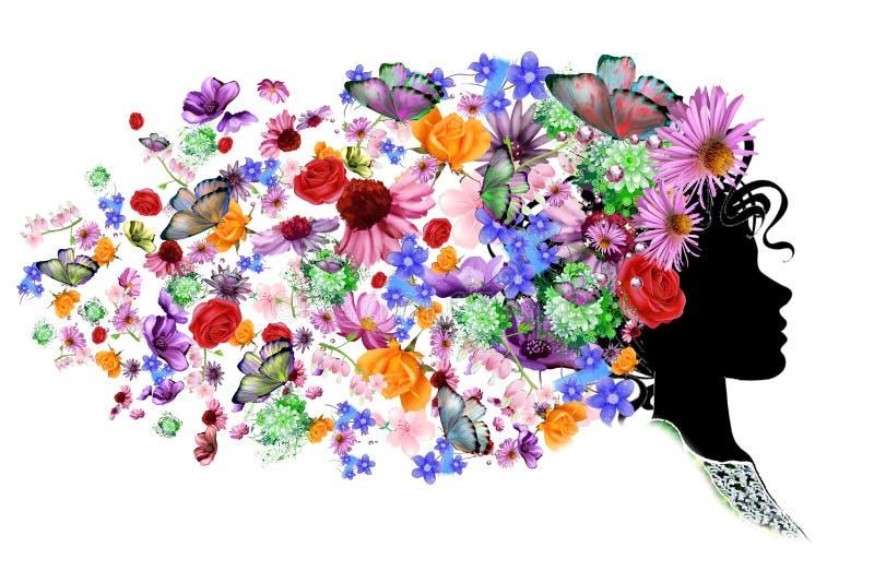 Vrouwelijk profiel, bloemenkapsel voor uw ontwerp stock illustratie