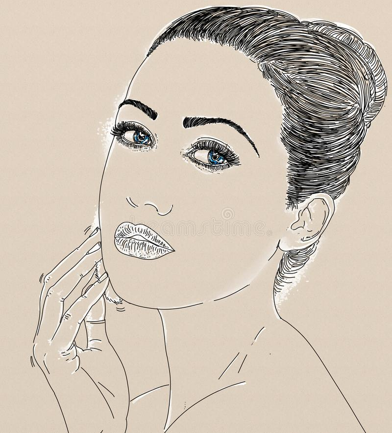 Vrouwelijk profielportret in potlood royalty-vrije illustratie