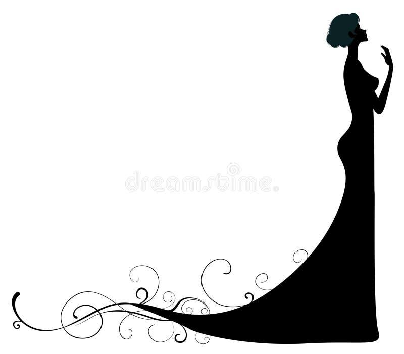 Vrouwelijk silhouet stock illustratie