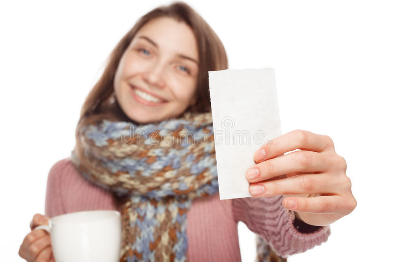 Vrouwelijk tonend geneesmiddelvoorschrift royalty-vrije stock foto