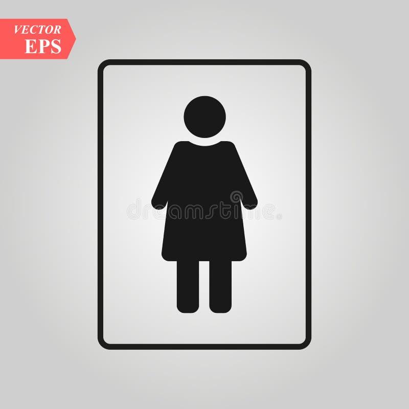 Vrouwelijk vectorpictogram het pictogramvector van het vrouwentoilet, geslacht geslacht, meisje, jongen WC het symbool vectorillu royalty-vrije illustratie