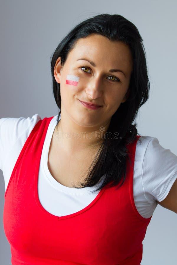 Vrouwelijk ventilatorportret van Pools team stock afbeelding