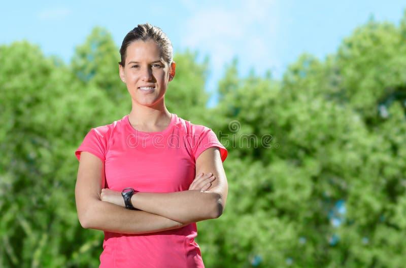 Vrouwelijk zeker atletensucces stock foto