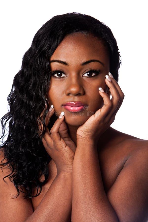 Vrouwelijk zwart schoonheidsgezicht royalty-vrije stock afbeelding