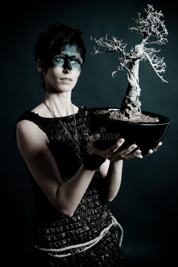 Vrouwelijke aardpriester met heilige boom stock foto's