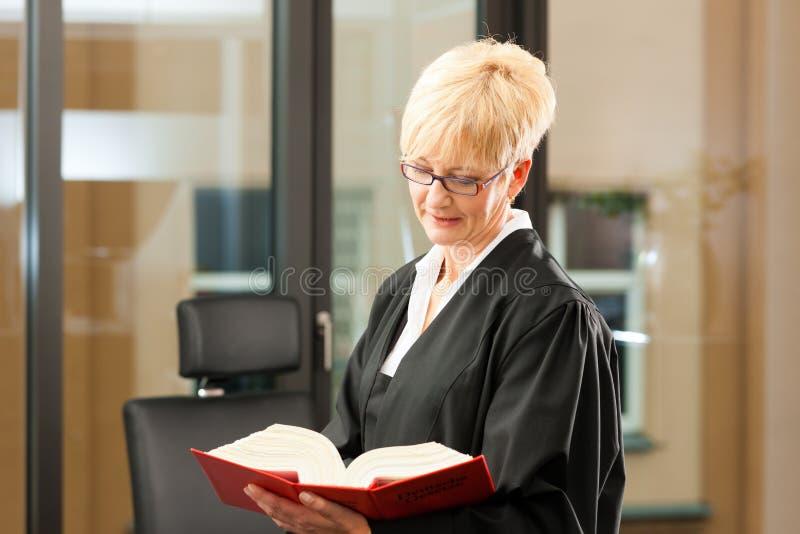 Vrouwelijke advocaat met burgerlijk rechtcode royalty-vrije stock foto