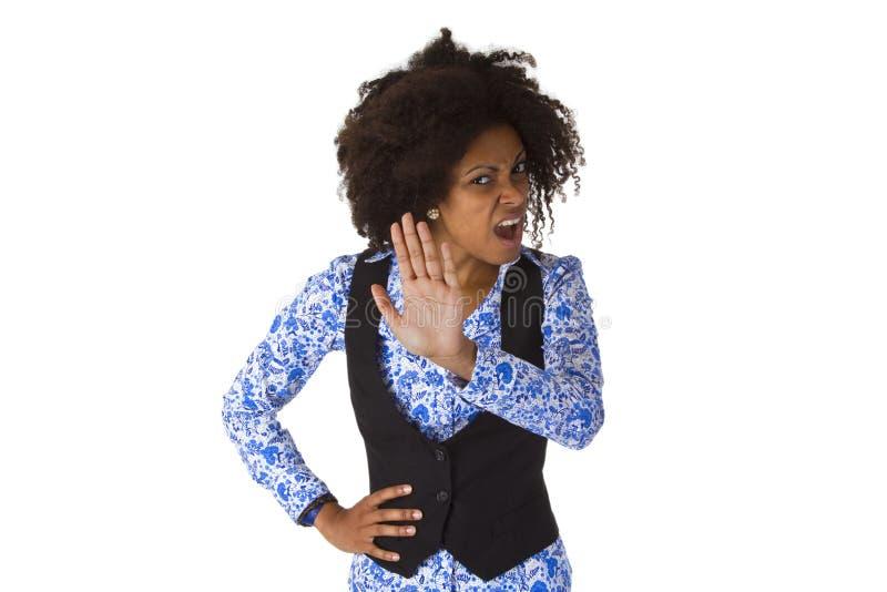 Vrouwelijke Afro Amerikaan zegt nr stock afbeelding