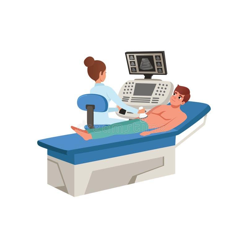 Vrouwelijke arts die de jonge mens met ultrasone klank kenmerkende machine, gezondheidszorg en de vectorillustratie van het genee stock illustratie