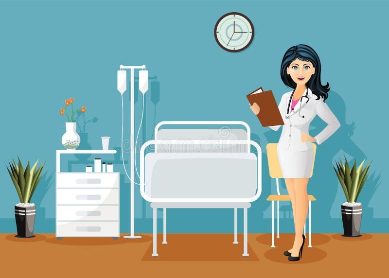 Vrouwelijke arts met stethoscoop, die een medisch dossier in het ziekenhuisafdeling houden, het binnenland van de het Ziekenhuisr stock illustratie