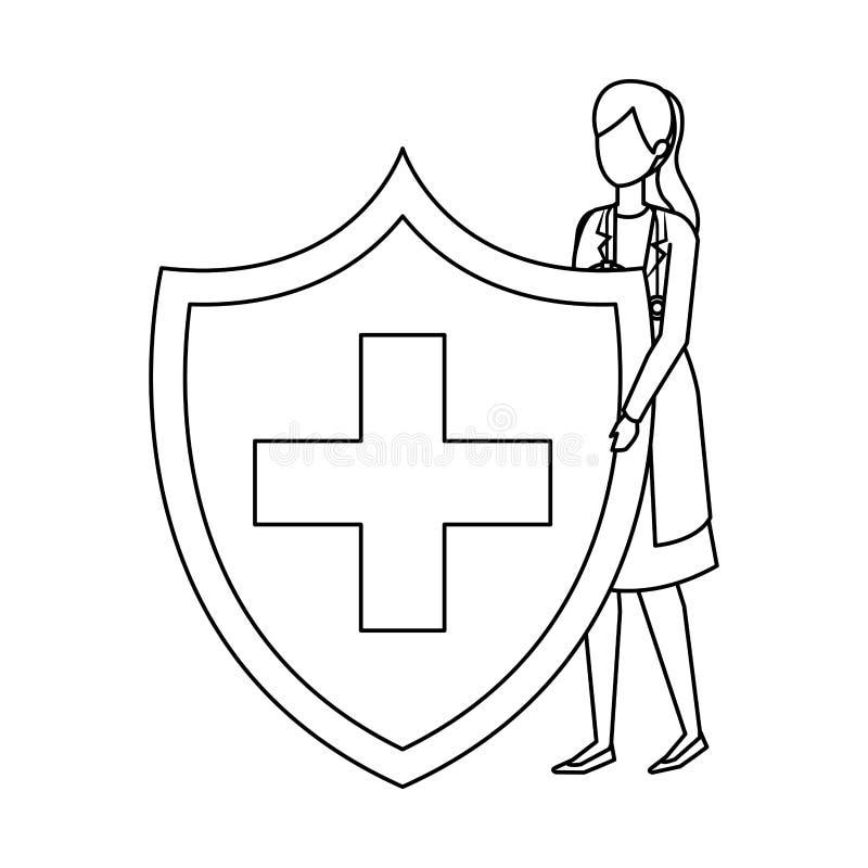 Vrouwelijke arts met stethoscoop en medisch schild stock illustratie