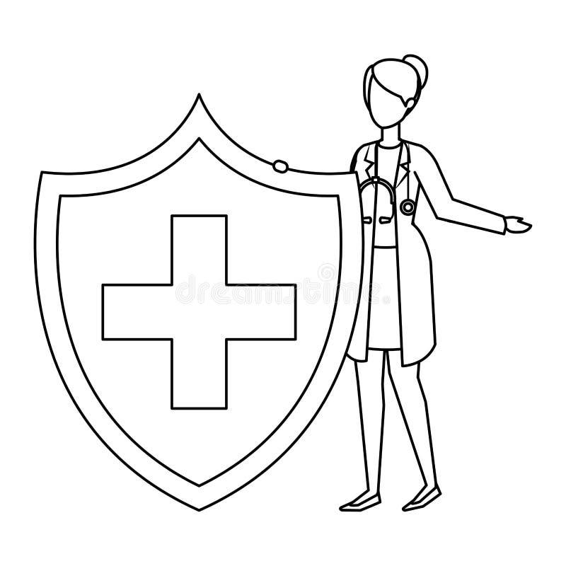 Vrouwelijke arts met stethoscoop en medisch schild vector illustratie
