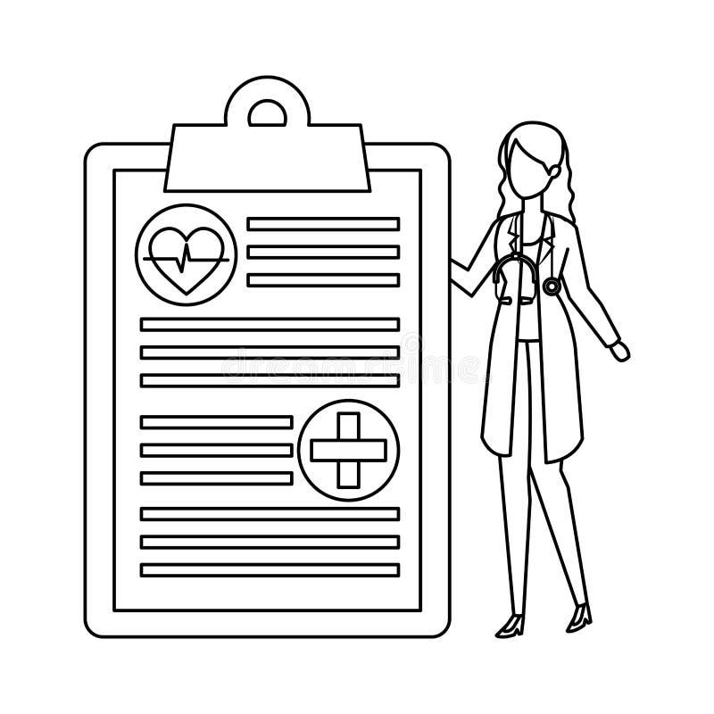 Vrouwelijke arts met stethoscoop en medische orde royalty-vrije illustratie