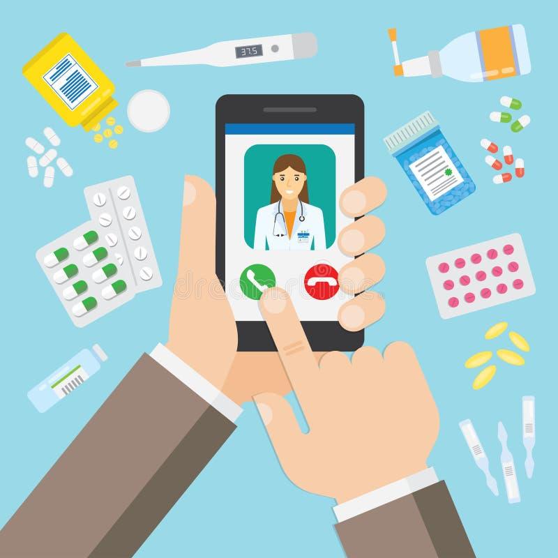 Vrouwelijke arts op mobiele toepassing stock illustratie