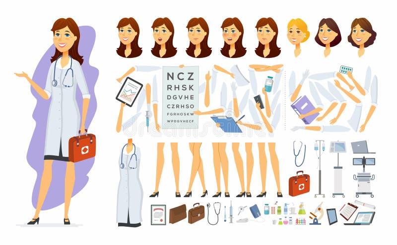 Vrouwelijke arts - vector het karakteraannemer van beeldverhaalmensen stock illustratie